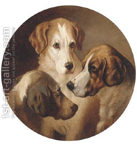 Three hounds by (after) George Earl - Reproduction Oil Painting