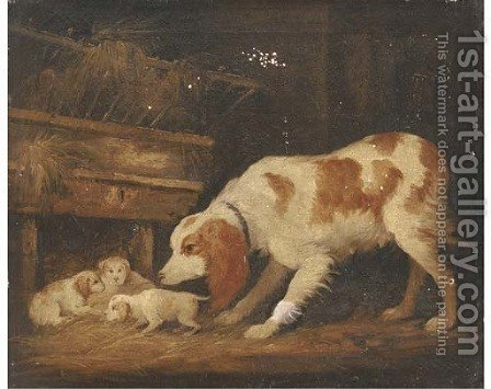 A spaniel with her pups in a barn by (after) George Garrard - Reproduction Oil Painting