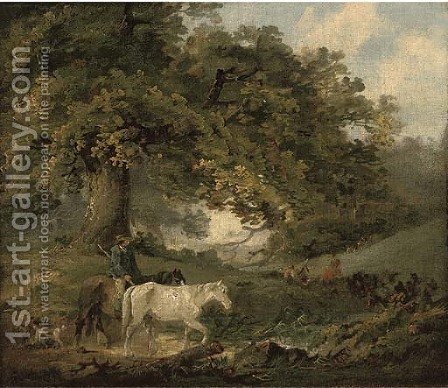 A countryman and horses in a wood, figures around a camp fire in the distance by (after) George Morland - Reproduction Oil Painting