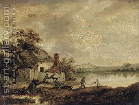 A fisherman sorting his nets by a lakeside cottage by (after) George Morland - Reproduction Oil Painting