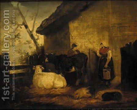 The milk maid and cow herd by (after) George Morland - Reproduction Oil Painting