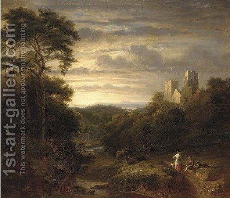 A family resting on a track, an abbey in an extensive landscape beyond by (after) George, Of Chichester Smith - Reproduction Oil Painting