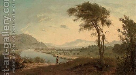 View of the Valley of the Lune, with the Lune river, Lancaster, and a figure with his dog in the foreground by (after) George, Of Chichester Smith - Reproduction Oil Painting