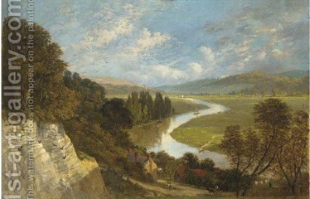 A sunlit river valley by (after) George Vicat Cole - Reproduction Oil Painting