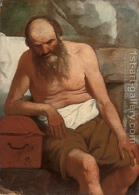 An old man leaning on a casket by (after) Georges De La Tour - Reproduction Oil Painting