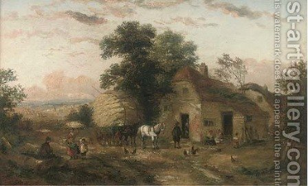 A hay cart and figures outside a farm; and At the village pump by (after) Georgina Lara - Reproduction Oil Painting