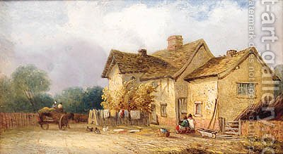 Children Before A Cottage With A Horse And Cart Beyond by (after) Georgina Lara - Reproduction Oil Painting