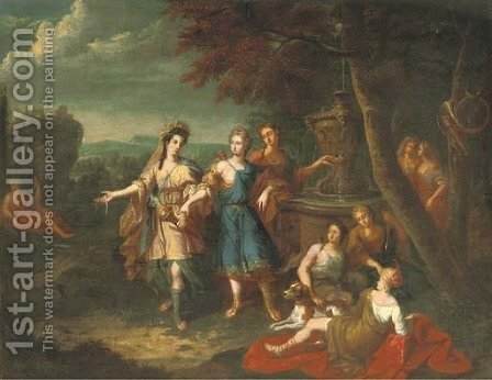 Diana and her nymphs by a fountain by (after) Gerard Hoet - Reproduction Oil Painting