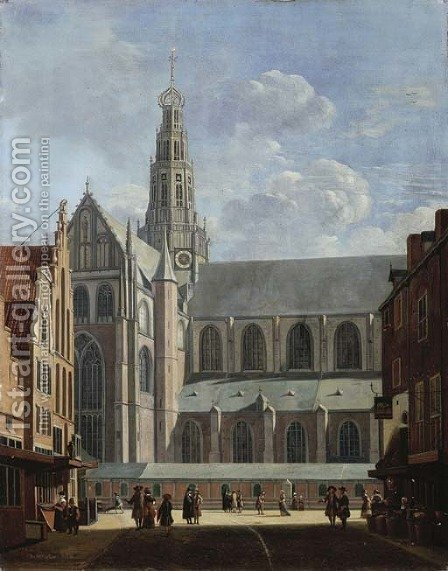 A view of the north transept of the St. Bavo Church from the Smedestraat in Haarlem by (after) Gerrit Adriaensz Berckheyde - Reproduction Oil Painting