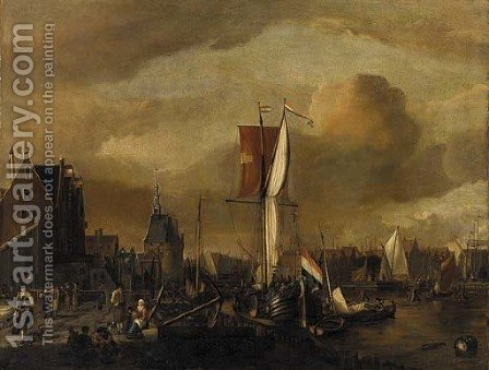 The harbour of Hoorn, with a moored Dutch galjoot and peasants on the quay by (after) Gerrit Adriaensz Berckheyde - Reproduction Oil Painting