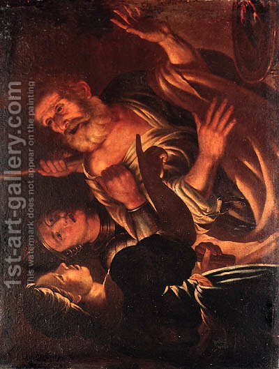 The Denial of Saint Peter by (after) Honthorst, Gerrit van - Reproduction Oil Painting