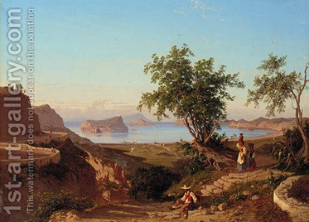 Neapolitan coastal landscape with Ischia and Capri beyond by (after) Giacinto Gigante - Reproduction Oil Painting