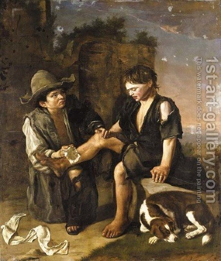 Two young boys with a dog 2 by (after) Giacomo Ceruti (Il Pitocchetto) - Reproduction Oil Painting
