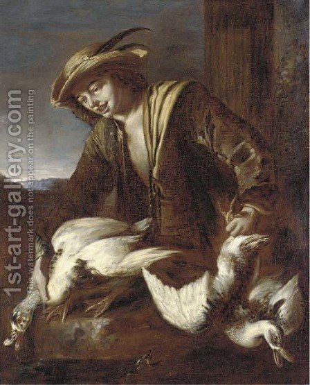 A boy holding two ducks by (after) Giacomo Francesco Cipper - Reproduction Oil Painting