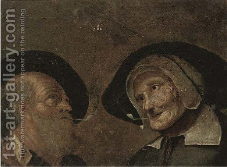 A head of a man and a woman by (after) Giacomo Francesco Cipper - Reproduction Oil Painting