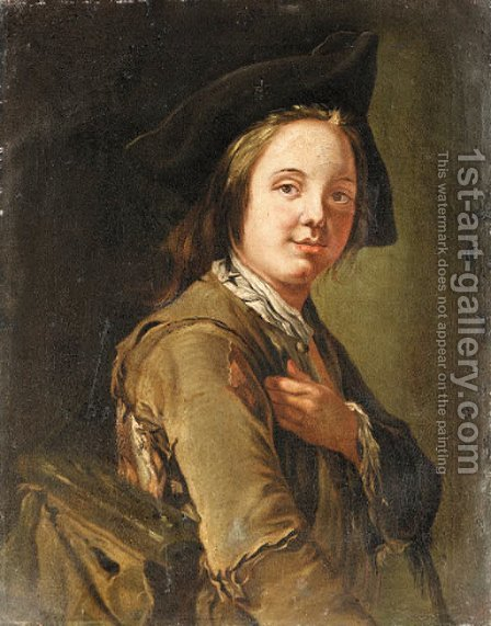 A Beggar Boy in a tricorn Hat holding a Satchel    ENLARGE by (after) Giacomo Francesco Cipper - Reproduction Oil Painting