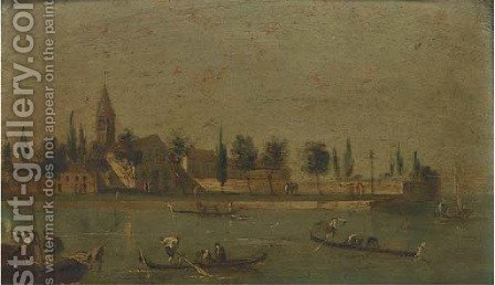 Isola del San Francesco, Venice by (after) Giacomo Guardi - Reproduction Oil Painting