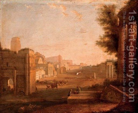 The Roman Forum with figures amongst ruins by (after) Giacomo Van Lint - Reproduction Oil Painting