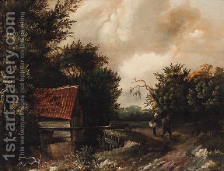 A peasant couple on a riverside path by (after) Gillis Rombouts - Reproduction Oil Painting