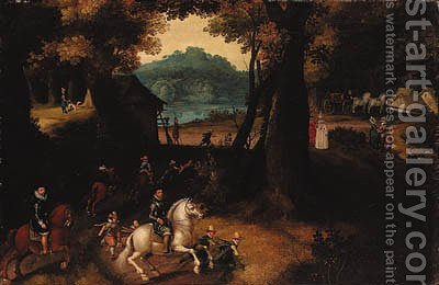 A wooded landscape with Maurits by (after) Gillis Van Coninxloo III - Reproduction Oil Painting