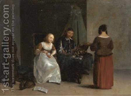 A jewellery seller in an interior by (after) Gillis Van Tilborgh - Reproduction Oil Painting