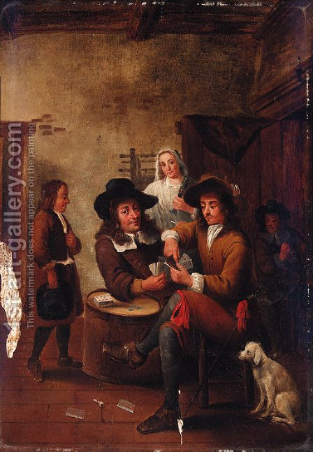 Guardsmen playing cards in an inn by (after) Gillis Van Tilborgh - Reproduction Oil Painting