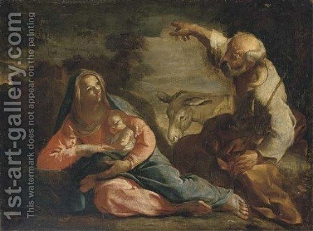 The Rest on the Flight into Egypt by (after) Giovanni Antonio Pellegrini - Reproduction Oil Painting