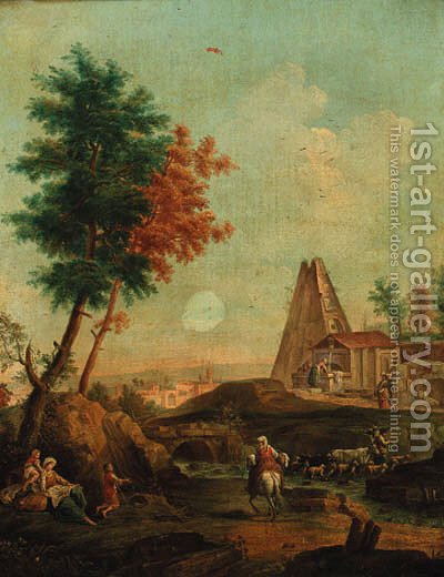 An Italianate landscape with shepherds crossing a stream, washerwomen at a fountain beyond by (after) Gianbattista Cimaroli - Reproduction Oil Painting