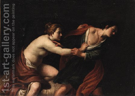 Joseph and Potiphar's wife by (after) Giovanni Bilivert - Reproduction Oil Painting