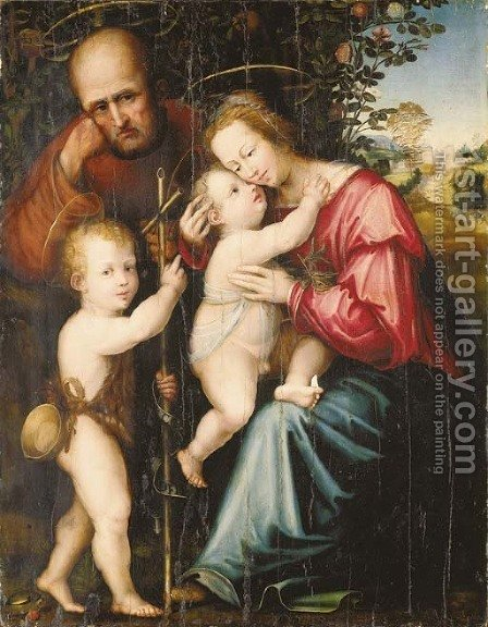 The Holy Family with the Infant Saint John the Baptist by (after) Giovanni Di Lorenzo Larciani - Reproduction Oil Painting