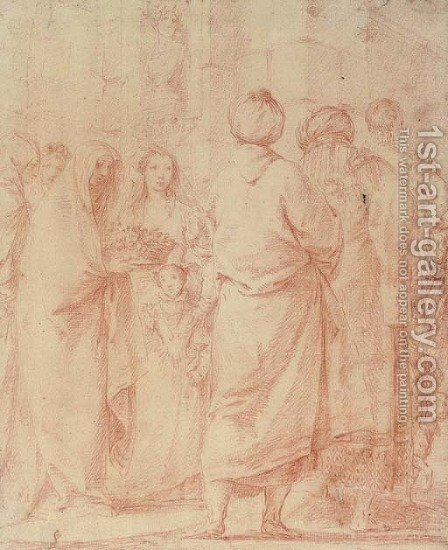A procession of veiled women, orientals and a young man, before a bust of Tiberius by (after) Giovanni Domenico Tiepolo - Reproduction Oil Painting