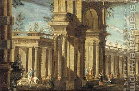 A capriccio of a classical palace with elegant figures by (after) Giovanni Ghisolfi - Reproduction Oil Painting