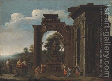 A capriccio of Roman ruins with classical figures adorning a shrine to Ceres by (after) Giovanni Ghisolfi - Reproduction Oil Painting