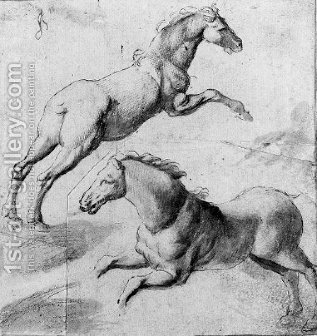 Study of two horses jumping by (after) Giulio Pippi, Called Giulio Romano - Reproduction Oil Painting