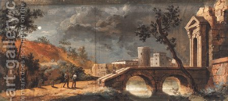 A moonlit capriccio of a classical town with travellers on a path by a bridge by (after) Giuseppe Bernardino Bison - Reproduction Oil Painting