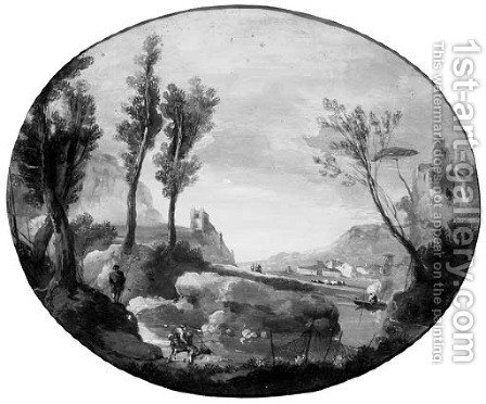 Fishermen in an extensive river landscape by (after) Giuseppe Bernardino Bison - Reproduction Oil Painting
