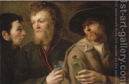 Three men with a glass and a bottle by (after) Giuseppe Bossi - Reproduction Oil Painting