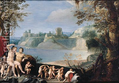 Mars and Venus in a river landscape by (after) Giuseppe (d'Arpino) Cesari (Cavaliere) - Reproduction Oil Painting