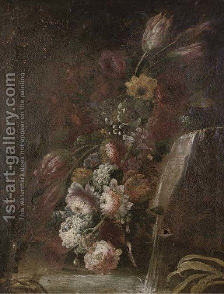 Flowers by a waterfall in a garden by (after) Giuseppe Lavagna - Reproduction Oil Painting