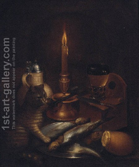 A cat pawing fish on a pewter plate by a stoneware ewer, a knife, a roemer and a candle by (after) Godfried Wedig - Reproduction Oil Painting
