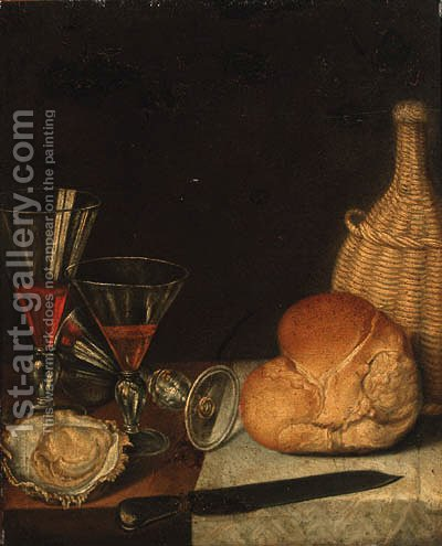 Wine glasses, an oyster, a loaf of bread, a wine bottle and a knife on a partially draped table by (after) Gotthardt Von Wedig - Reproduction Oil Painting