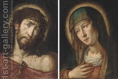 Christ as the Man of Sorrows and The Virgin as Mater Dolorosa by (after) Gortzius Geldorp - Reproduction Oil Painting
