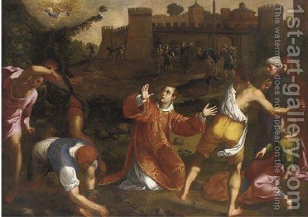 The Martyrdom of Saint Stephen by (after) Gregorio Pagani - Reproduction Oil Painting