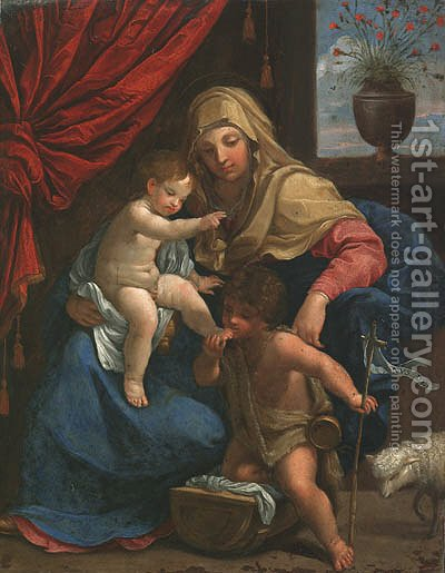 The Madonna and Child with Saint John the Baptist by (after) Guido Reni - Reproduction Oil Painting