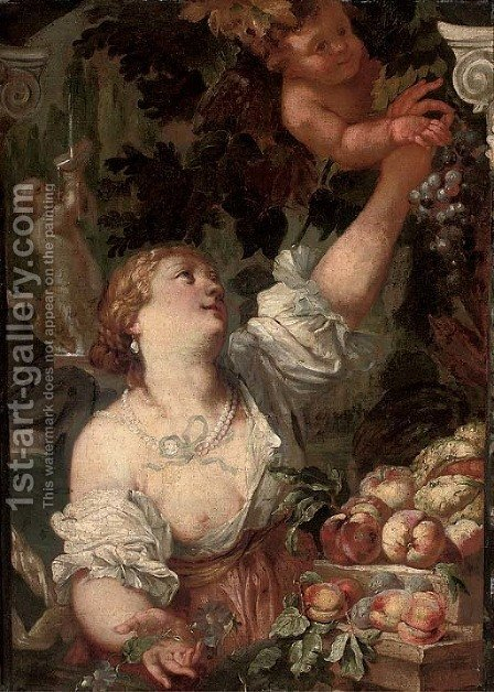 An allegory of Abundance by (after) Guillaume Courtois - Reproduction Oil Painting