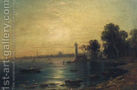 And The Bosphorus Coast By Moonlight by (after) Gustave Bauernfeind - Reproduction Oil Painting