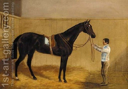 A saddled liver chestnut racehorse held by a groom in a stable by (after) Harry Hall - Reproduction Oil Painting