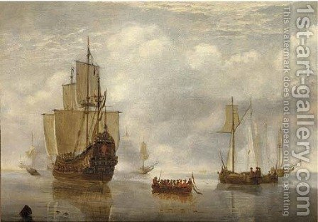 A States Yacht firing a salute at a departing barge, with other shipping in a calm by (after) Hendrick Dubbels - Reproduction Oil Painting