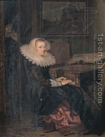 A young woman playing the virginals, a man in the doorway beyond by (after) Hendrick Gerritsz. Pot - Reproduction Oil Painting
