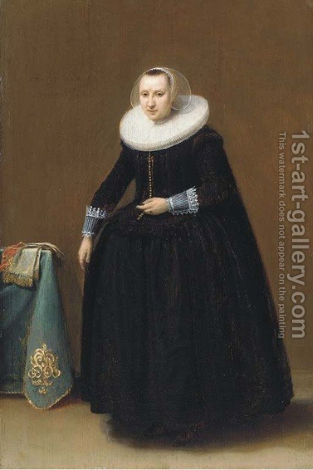 Portrait of a lady, aged 24 by (after) Hendrick Gerritsz. Pot - Reproduction Oil Painting